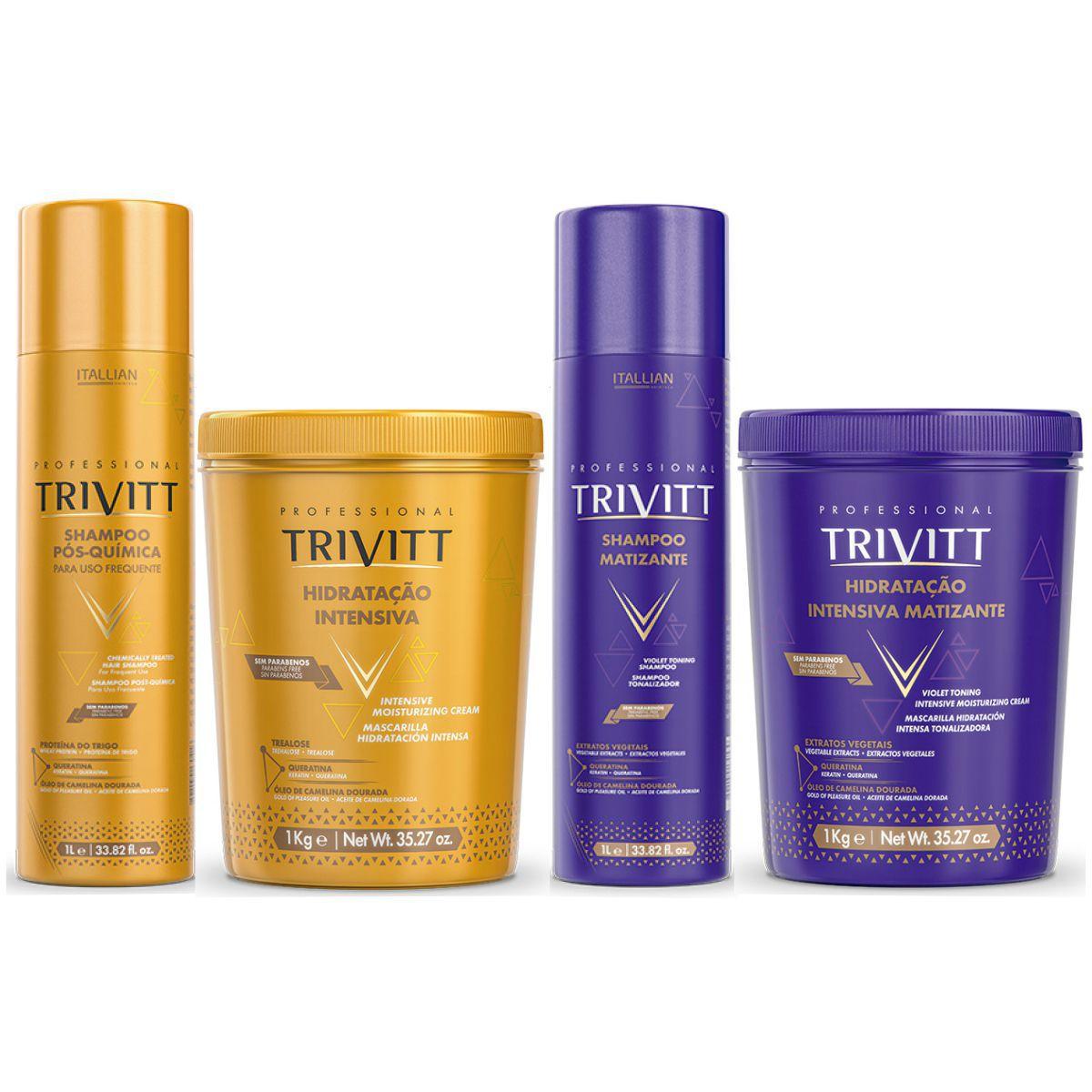 Máscara De Hidratação E Shampoo Trivitt E Kit Matizante