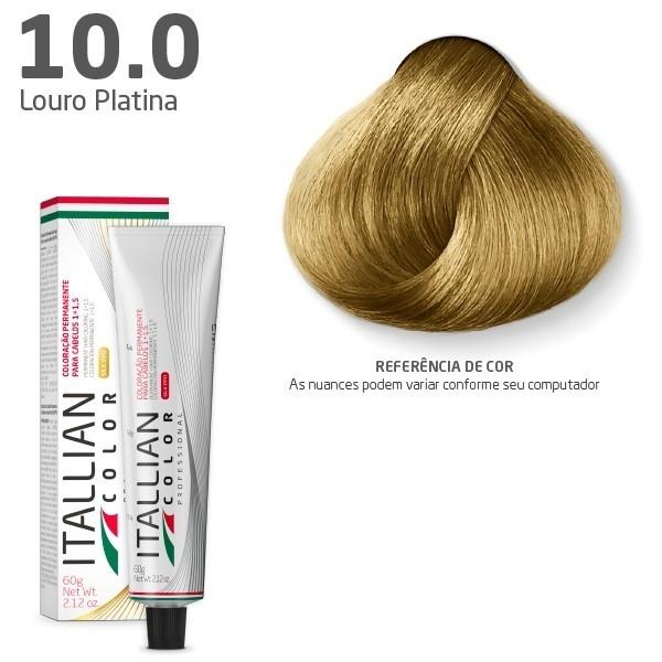 Tinta Coloração Profissional Itallian Color 10.0 Louro Platina 60g