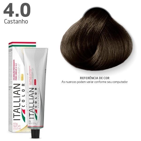 Tinta Coloração Profissional Itallian Color 4.0 Castanho 60g