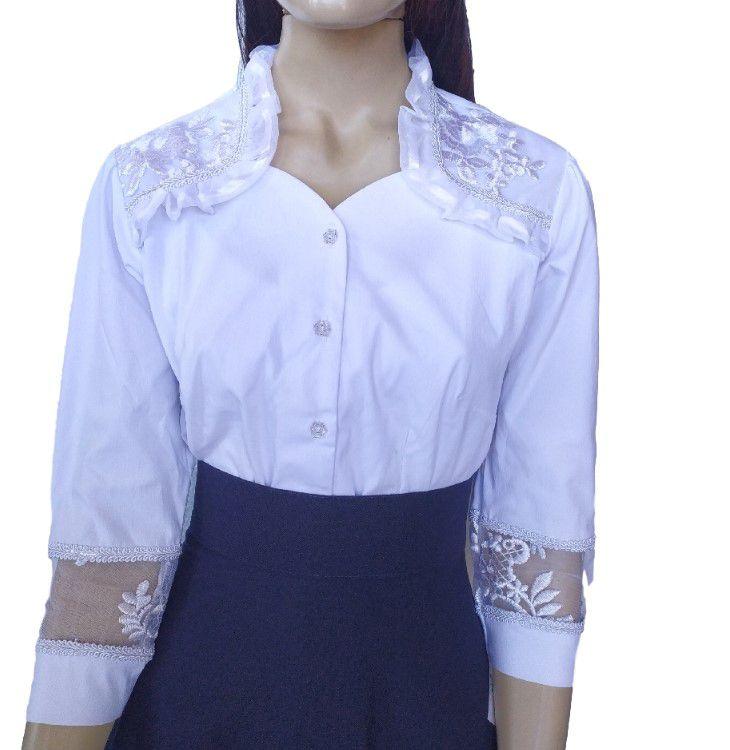 Blusa de Prenda Gaúcha Margarida Branca