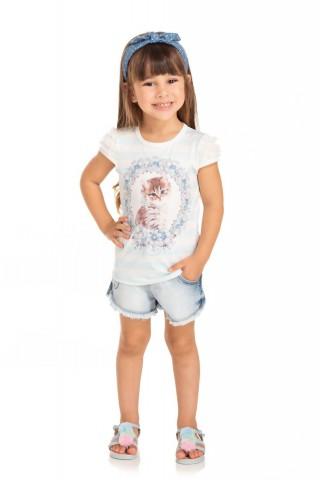 Blusa Infantil Verão Gato - Quebra cabeça