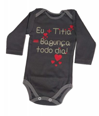 Body Bebê Inverno Unissex Frase Titia - Bate Palminha