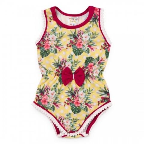 Body Bebê Menina Verão Floral Amarelo- Fantoni