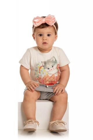 Conjunto Bebê Menina Verão Gatinho,  2 peças - Quebra cabeça