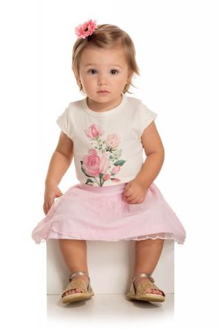 Conjunto Bebê Menina Verão Rosas, 2 peças - Quebra cabeça