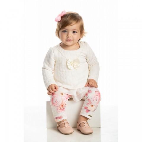 Conjunto Bebê Menina Inverno Rosas, 2 peças - Quebra Cabeça