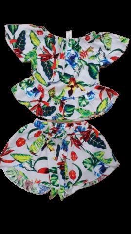 Conjunto Infantil Verão em Malha Floral - 2 peças