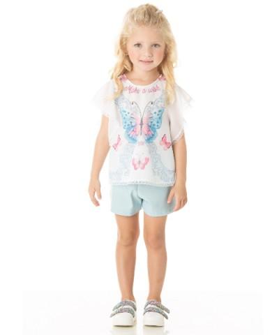 Conjunto Infantil Verão Menina Borboleta, 2 peças - Quebra Cabeça