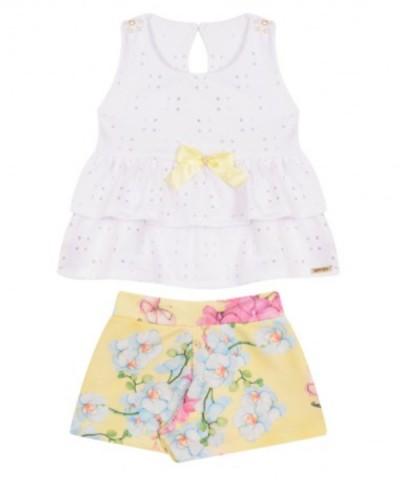 Conjunto Bebê Menina Verão Flores, 2 peças - Quebra Cabeça