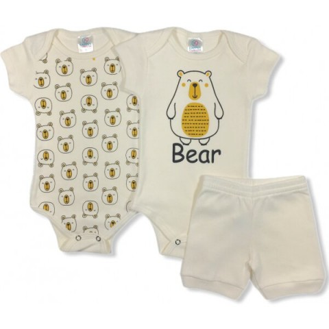 Kit Body Bebê Menina Bear, 3 peças - Kappes