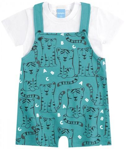 Jardineira Bebê Verão Menino Com Camiseta - Kamylus