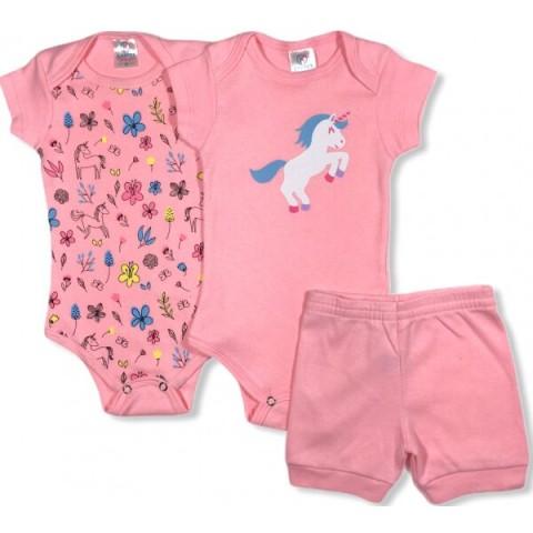 Kit Body Bebê Menina Unicórnio Pink, 3 peças - Kappes