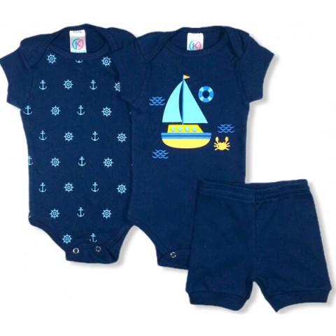 Kit Body Bebê Menino Barquinho Azul, 3 peças - Kappes