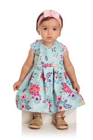 Vestido Bebê Verão Flores Com Calcinha- Quebra cabeça