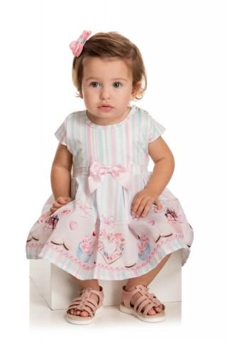Vestido Bebê Verão Tafetá Com Calcinha - Quebra cabeça