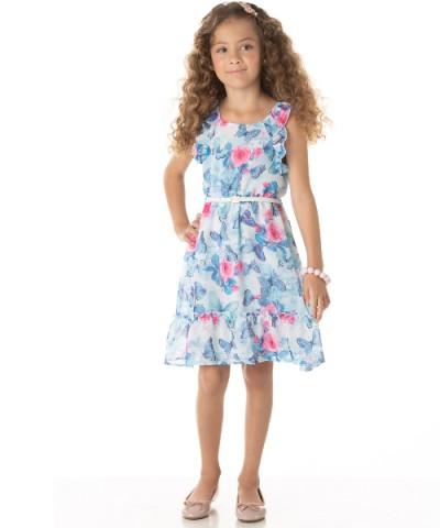 Vestido Infantil Verão Borboleta Azul - Quebra Cabeça