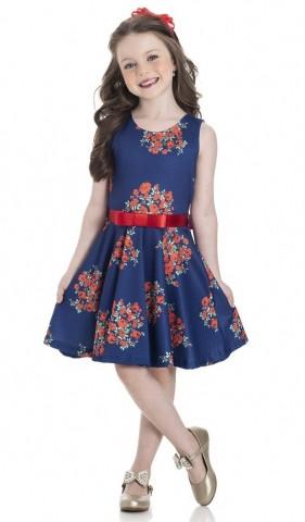Vestido Infantil Flores Vermelhas - Gueda