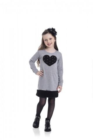 Vestido Infantil Inverno Coração - Gueda
