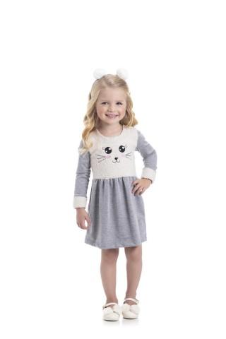 Vestido Infantil Inverno Detalhe em pêlos - Gueda