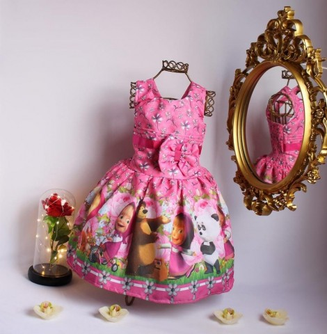 Vestido Infantil Temático - Masha E O Urso