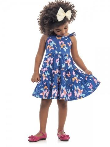 Vestido Infantil Verão Borboletas - Kaiani