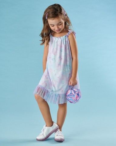 Vestido Infantil Verão Conchas - Kiki Xodó