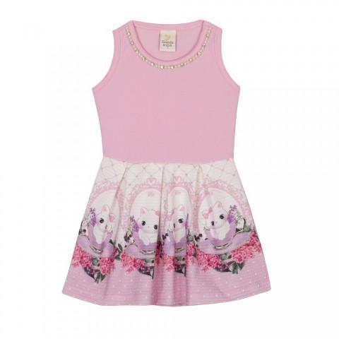 Vestido Infantil Verão Gatinhos E Flores - Gueda