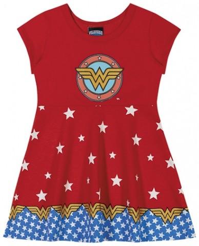 Vestido Infantil Verão Mulher Maravilha (símbolo), DC Super Friends - Romitex