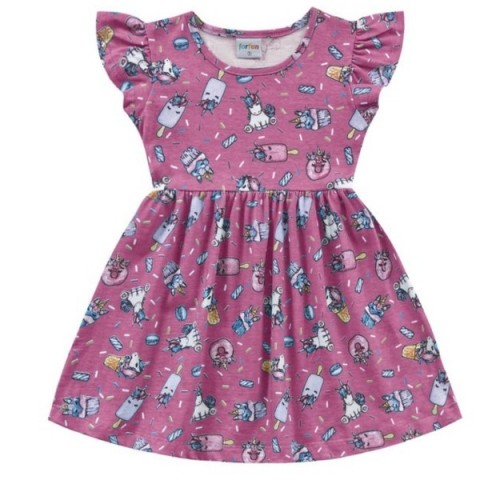 Vestido Infantil Verão Unicórnio, Rosa  - Fakini forfun