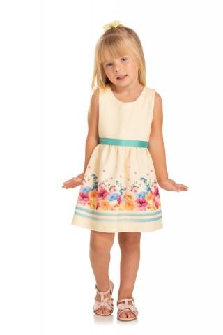 Vestido Infantil Verão Detalhe Floral - Quebra Cabeça
