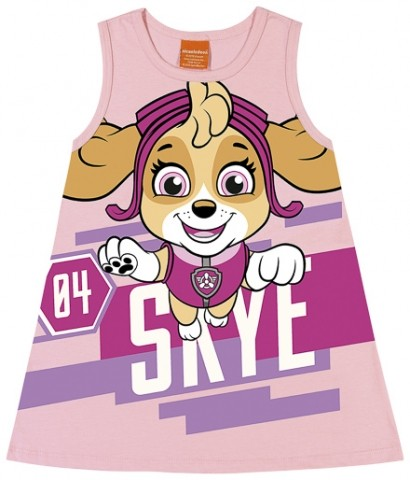 Vestido Loungewear Infantil Verão Skye, Patrulha Canina - Romitex