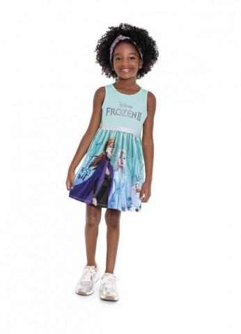 Vestido Regata Infantil Verão Frozen II, Cor Verde Claro - Fakini