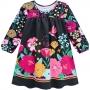 Vestido Infantil Preto Com Detalhes Em Flores - Nanai