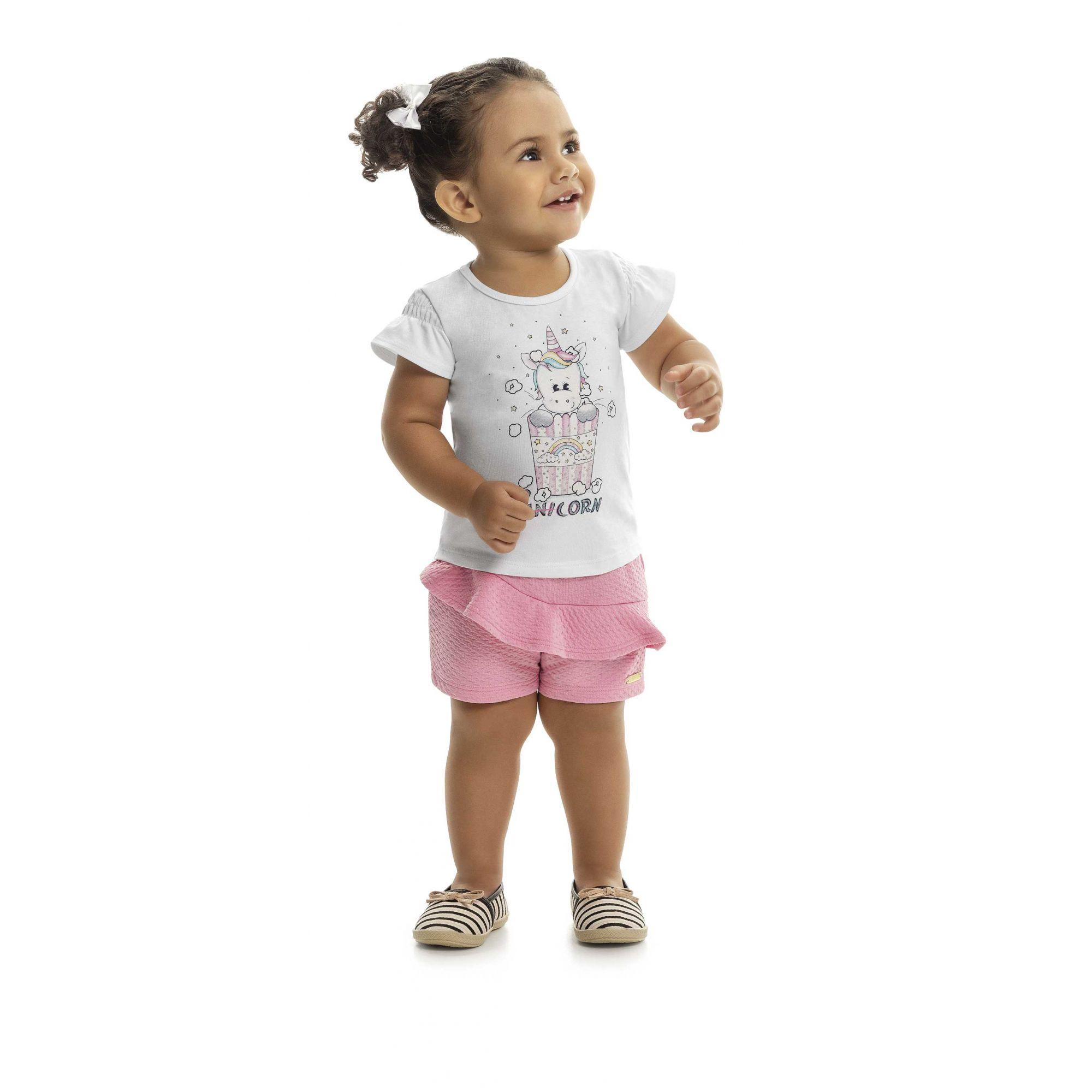 Blusa Bebê Menina Verão Pop Unicorn  - Kaiani