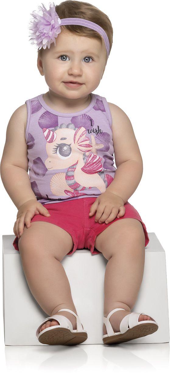 Blusa Bebê Menina Verão Cavalo Marinho - Kely & Kety