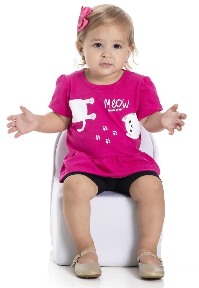Blusa Bebê Menina Verão Meow - Gueda