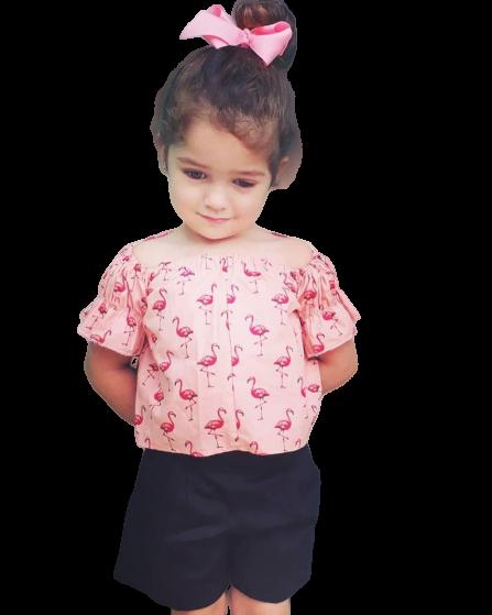 Blusa Infantil Verão Flamingos
