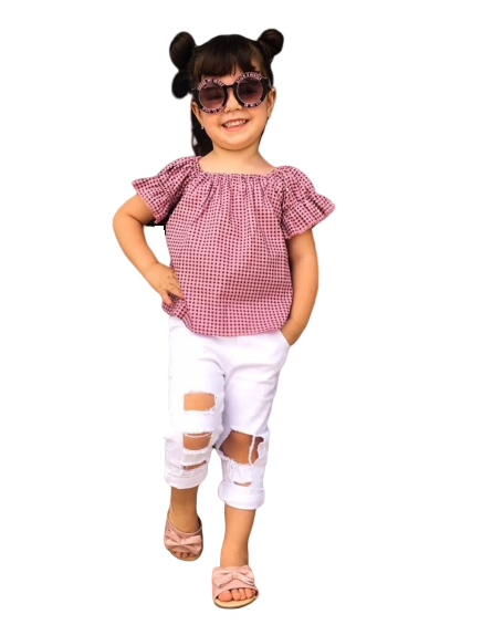 Blusa Infantil Verão Xadrez