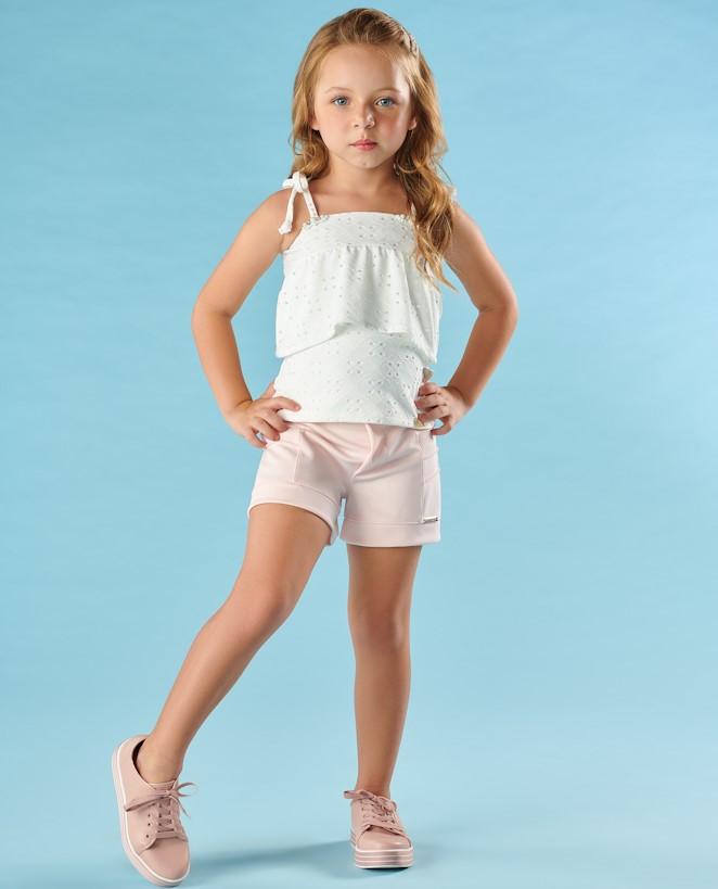 Blusa Infantil Verão Em Laise Branco - Kiki Xodó