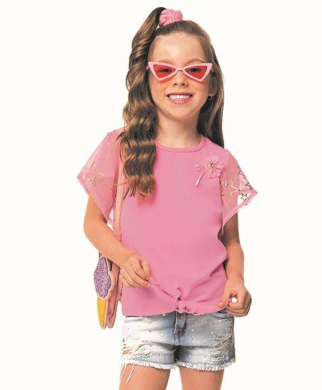 Blusa Infantil Verão Fuxico - Angerô