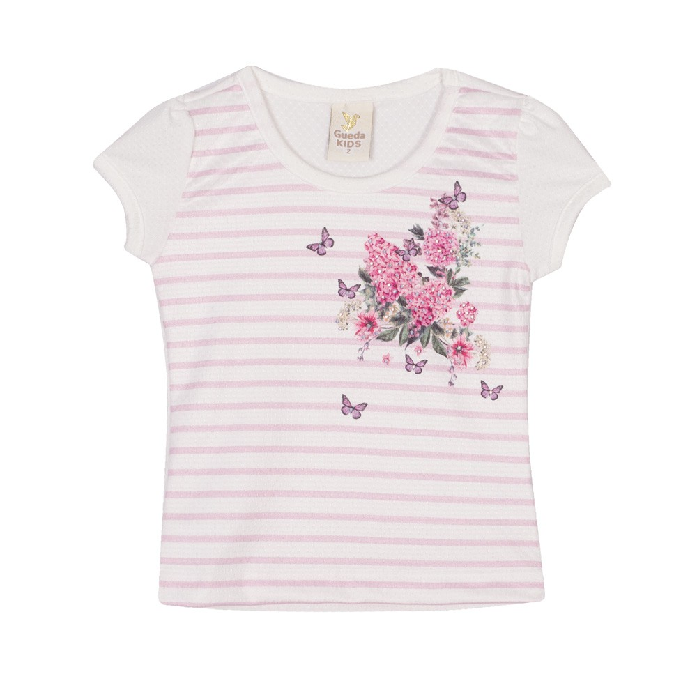 Blusa Infantil Verão Listras E Flores - Gueda