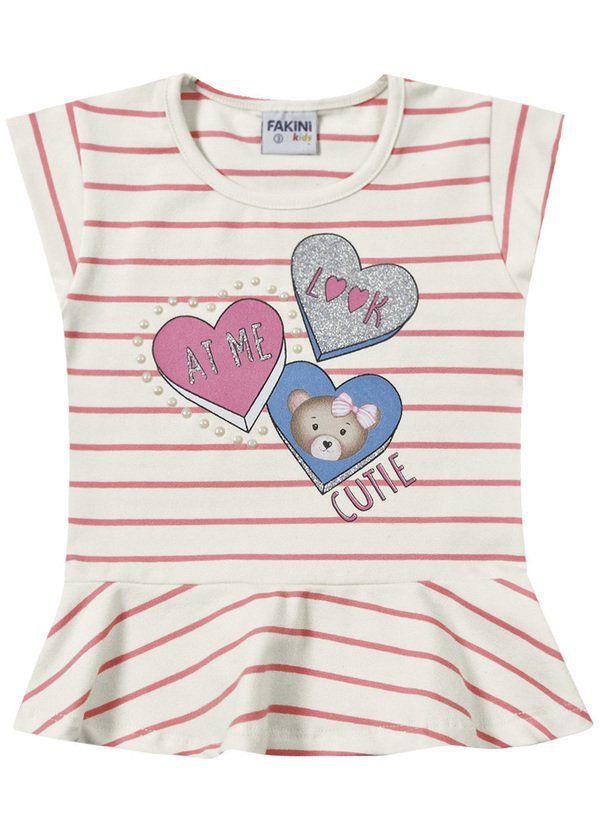 Blusa Infantil Verão Listrada Com Corações - Fakini