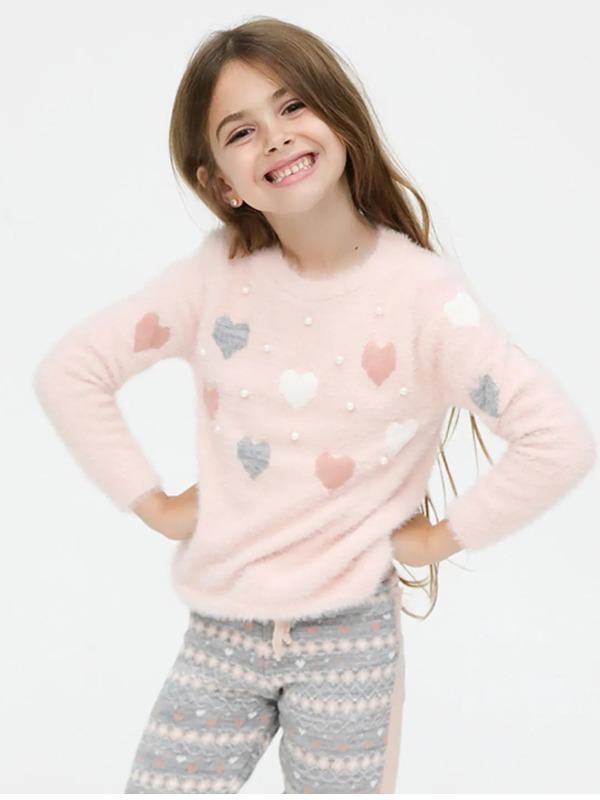 Blusão Em Tricot Felpudo, Infantil Menina, Corações e Pérolas - Twiky - 3
