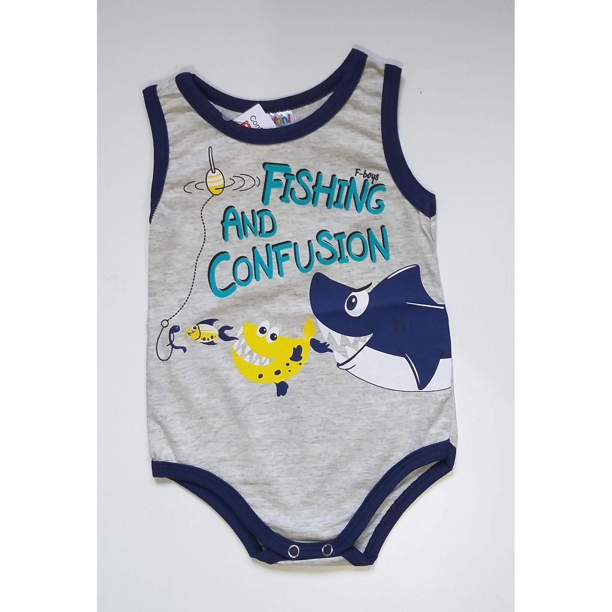 Body Regata Bebê Menino Verão Fishing - Fantoni