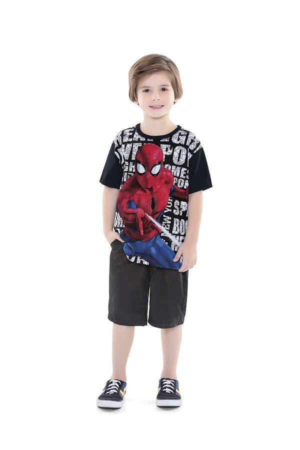 Camiseta Infantil Verão Spider-Man, Brilha No Escuro  - Fakini