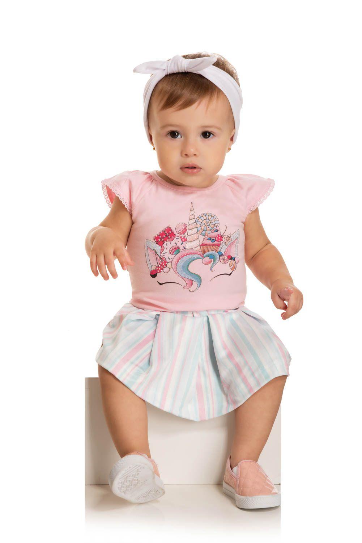 Conjunto Bebê Menina Verão Unicórnio, 2 peças - Quebra cabeça