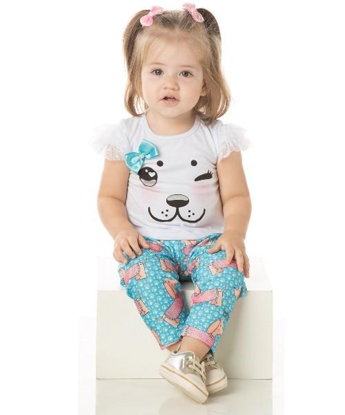 Conjunto Bebê Menina Verão Dog Branco, 2 peças - Quebra Cabeça