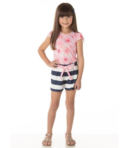 Conjunto Infantil Verão Floral Chique Rosa, 2 peças - Quebra Cabeça
