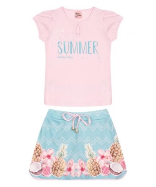 Conjunto Infantil Verão Tropical, 2 peças - Quebra Cabeça - 1 - Rosa