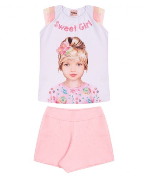Conjunto Infantil Verão Sweet Girl, 2 peças - Quebra Cabeça